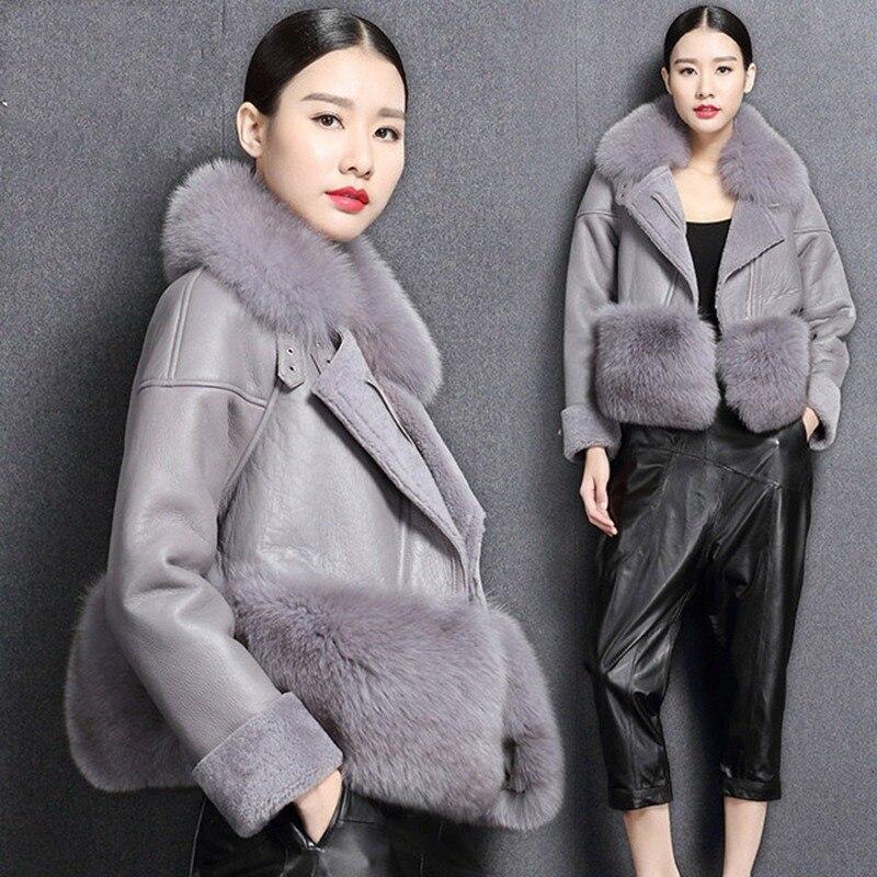 genuine sheep leatherskin jacket fox fur cooar coats (1)