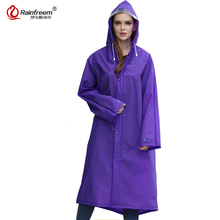 Rainfreem 2017 New Fashion EVA Trench Raincoat Women/Men Impermeable Plastic Transparent Rain Coat 7 Colors Rain Gear Poncho