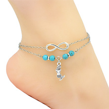 Fashion Barefoot Sandals Boho Anklet Silver Infinity Charm Cute Elegant Little Mermaid Pendant Beads Ankle Bracelet Foot Jewelry(China)
