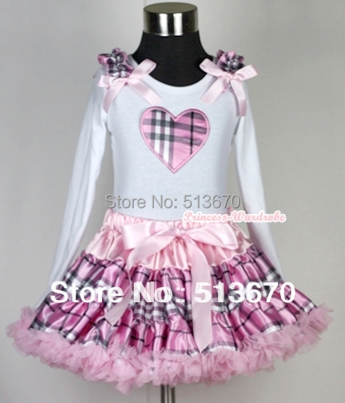 Pink Check Plaid Pettiskirt with White Valentine Plaid Heart Ruffle Bow Long Sleeve Top MAMW134<br>
