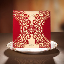 1pcs Sample Red Laser Cut Rose Flower Wedding Invitations Card Elegant Lace Envelopes & Seals Wedding Event & Party Supplies(China)