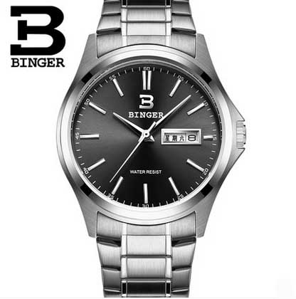 Black Dial  BINGER Best Watch Brands Hot Quartz Business Watch For Men Leather Wristwatches Relogio Masculino waterproof B-3052M<br>