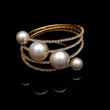Fashion Charm Bangles Gold Sliver Simulated Pearl Beads Clear Crystal Pearl Bangles For Women