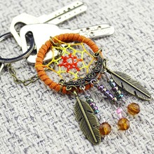 Dream Catcher Net With Feathers Hanging Decoration Craft Gift Wind Chimes Wall Car Hanging Decoration Ornament Mini Keychain @
