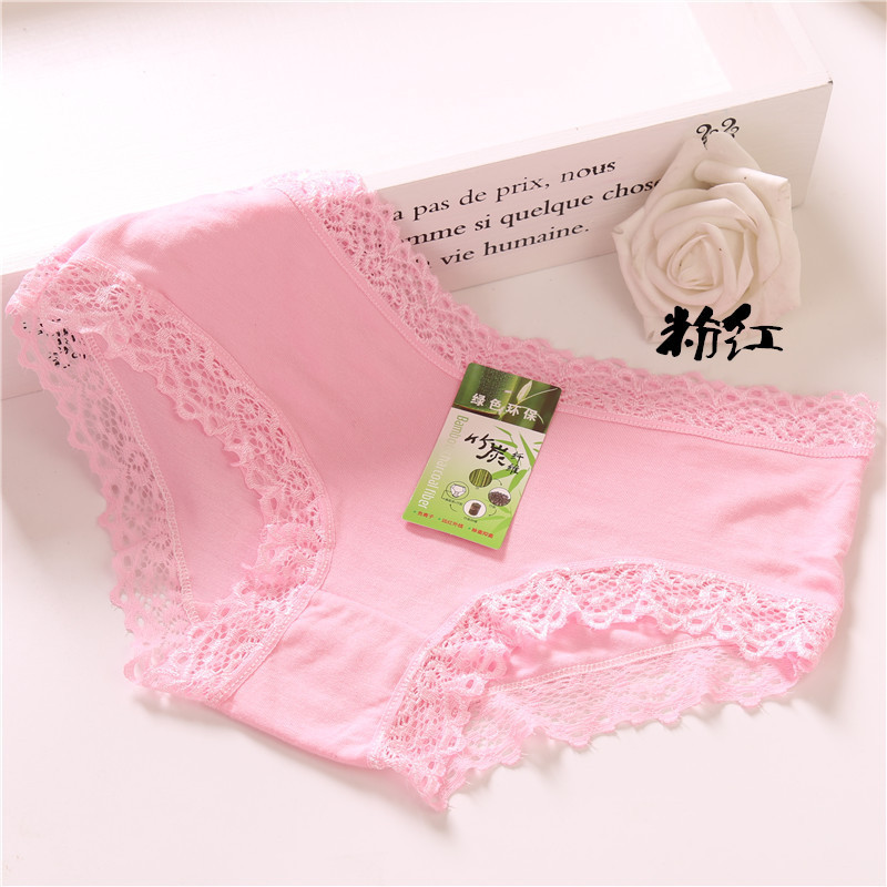 4Pcs/Lot Candy Color Ultra-thin Cute Girl Panties Underwear Soild Briefs Cotton Lingerie Soft Comfortable Lace PantyNH0016