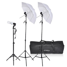 Andoer Photo Studio Lighting Kit Photography Umbrella Equipment 3* Bulbs 3*E27 Swivel Socket 3* Stand 2* Umbrellas Carrying Case
