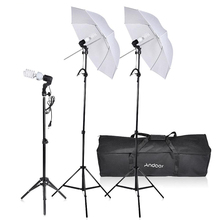 Andoer Photo Studio Lighting Kit Photography Umbrella Equipment 3* Bulbs 3*E27 Swivel Socket 3* Stand 2* Umbrellas Carrying Case(China)