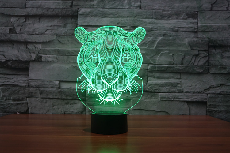 Lion Head 3D Glow LED Lamp Touch Switch Art Sculpture Lights Unique 7 Colors Lighting Effects and 3D Awesome Gift (3)