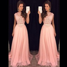 Elegant 2017 Women Long Evening Dresses A-line Cap Sleeves Floor Length Pink Appliques Lace Evening Gown Prom Party Dresses