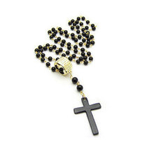 2017 Hot Sale New Unisex Mens and Women Cross Pendant Necklace Black Rosary Beads Long Necklace Chain Jewelry Top Quality
