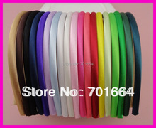 60PCS Assorted Colors 7mm Satin Fabric Wrapped Plain Plastic Hair Headbands hairbands,Bargain for Bulk(China)