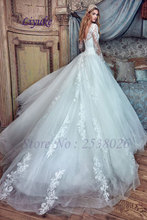 Liyuke J376 Marvelous Tulle High Collar Ball Gown Wedding Dress With Full Sleeves Applique Floor-Length Royal Train Bridal Dress