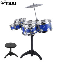 TSAI Plug Size Children Kids Practicing Drum Instrument Mini Portable ABS Stainless Steel Drum Set With Chair Overseas Stock(China)