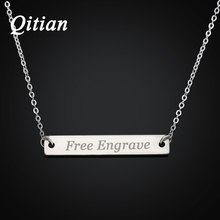 Bar Necklace Engraved in Stainless Steel Personalized Name Necklace Nameplate - Custom Made with Any Name(China)