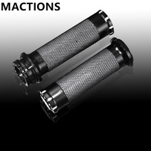 "Motorcycle Handle Bar Handle Grips Black CNC 1""25mm Handlebar Hand Grips Fit For Harley Sportster Touring Dyna Softail Custom"