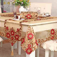 Wedding embroidery banquet lace party round square yarn dinning table red floral tablecloth runner(China)