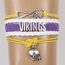 Infinity Love Minnesota state Vikings NFL Football Team Bracelet & Bangles Customize Themes Sports Wristband Gift For Fans