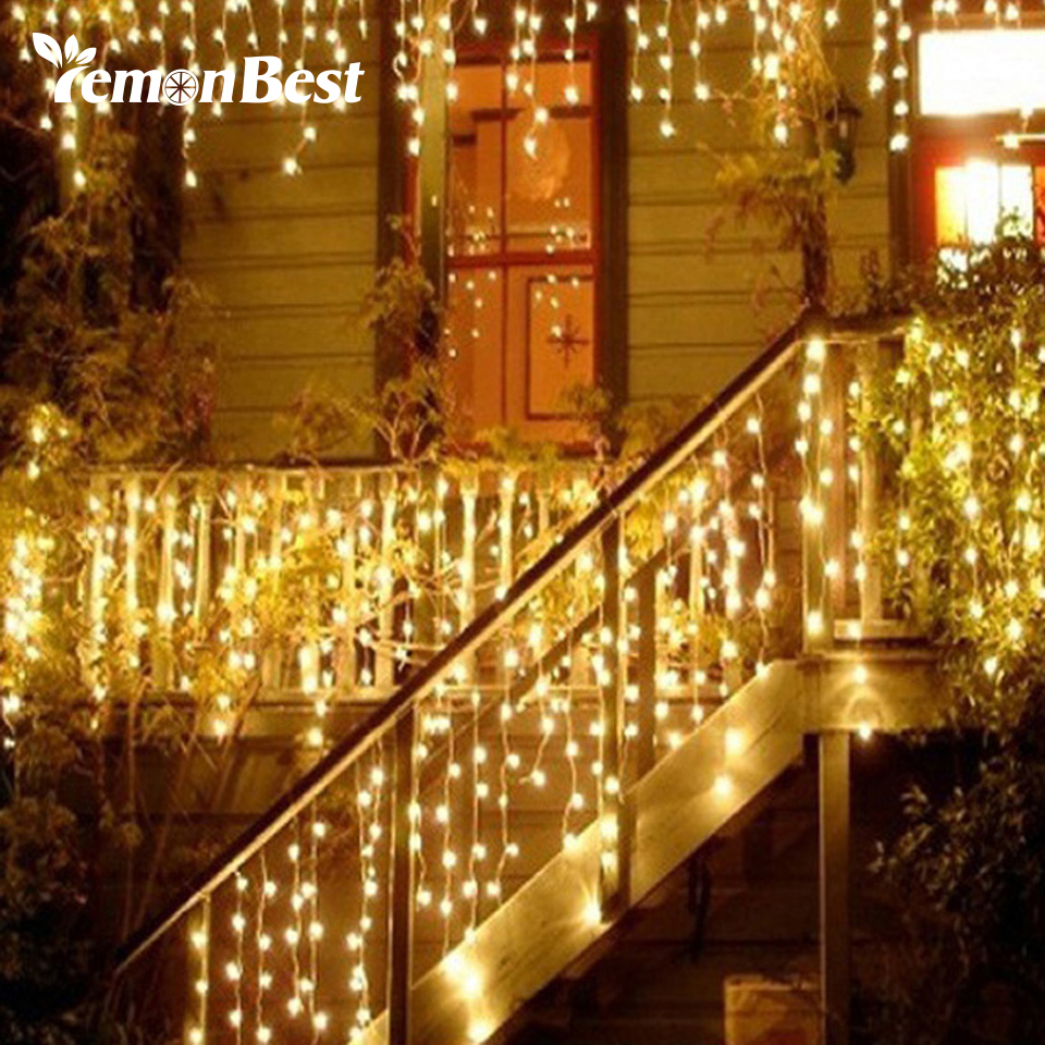 Christmas Lights Outdoor Decoration 3.5m Droop 0.3-0.5m Led Curtain Icicle String Lights New Year Wedding Party Garland Light(China)