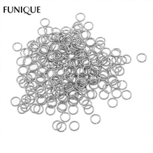 FUNIQUE DIY Jewelry 50PC Stainless Steel Silver Tone Open Jump Rings Split Rings For Making Keychains & Bracelet Accessories 6mm(China)