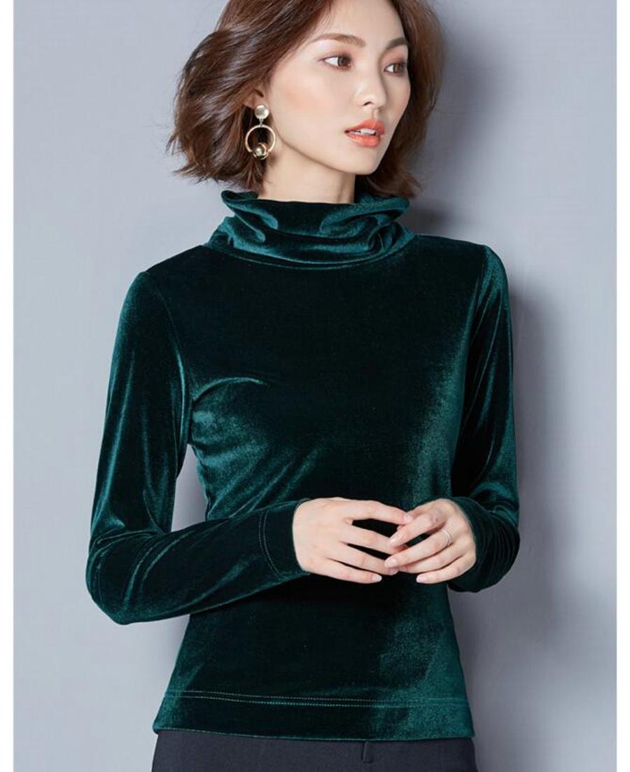 WANXIANGYUAN Women Long Sleeve Blouse 2017 Autumn Fashion Turtleneck Shirt Women Ladies Velvet Warm Blouses Shirts for Women 12