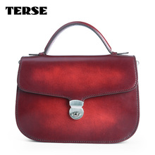TERSE_Christmas gift womens handmade leather handbag girls luxury shoulder bag casual bag in red tote bag custom service