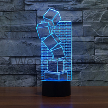 Novelty Glow Cube Light 7 colors changing LED Night Light building box Mood Lamp Bedroom Table Touch Lamp Xmas Gift