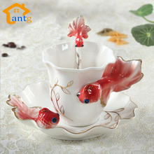 Goldfish Enamel Coffee Cup Porcelain mugs and cups suit creative wedding present ceramic cup European bone china cup(China)