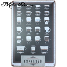 [Mike86] Espresso Café de Metal Signo PUB Home bar Decor Sticker Vintage Wall Art Poster 20*30 CM Mix Artículos AA-439