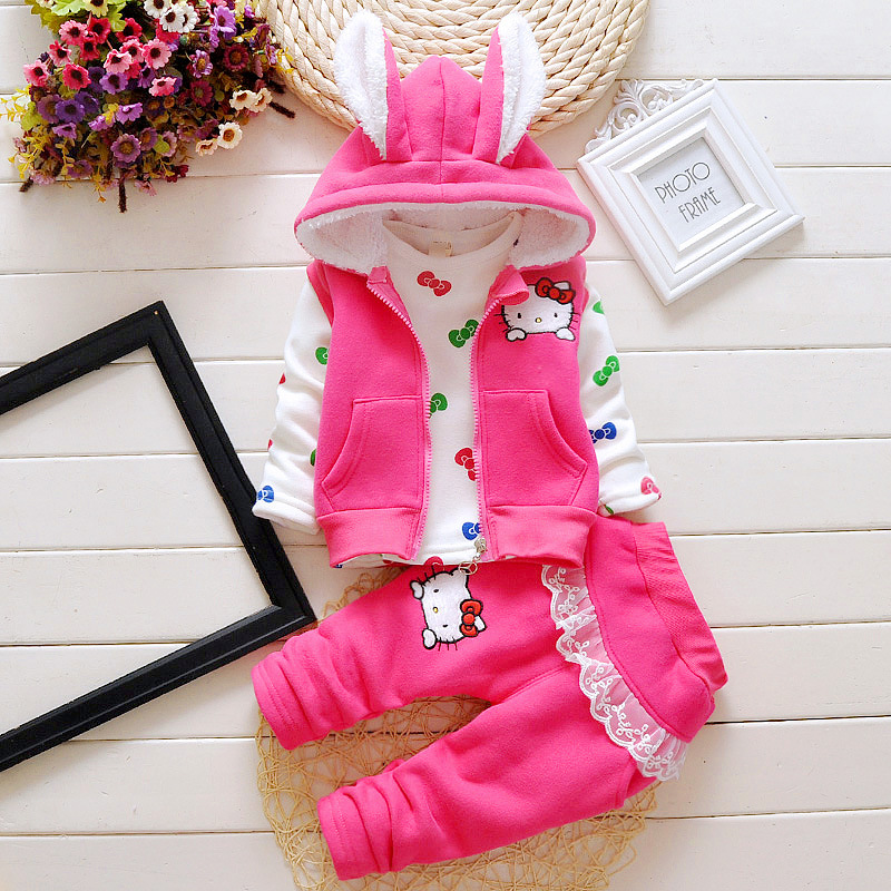 Autumn and winter children thick warm child cartoon suit girl three-piece hooded jacket + top + pants<br><br>Aliexpress