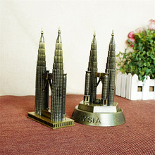 Novelty Craft New York Gemini Building Souvenirs Gift Bronze 3D Metal Craft fine tourist Twin Towers model Vintage Home Decor