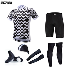 HOT pro team cycling full set 6pcs cycling jersey set men's jersey with hat sleeves leg warmer shoes cover bicycle clothes sets