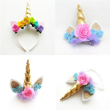 1pc Gold Unicorn Hairbands with Pony Ear and Felt Rose Flower Animal Unicorn Party Stretch Headband and hair Clips Girls Gift
