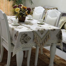 Vintage Floral Jacquard Polyester Linen Blend Fabric Tablecloth / Custom Elegant Table Runner Table Covers for Dinning Tables