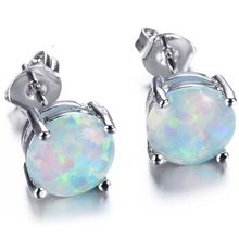 6MM Australian Fire Opal Stud Earring Genuine 925 Sterling Silver Wedding Party Cocktail Bridal Mother Christmas Gifts(China)