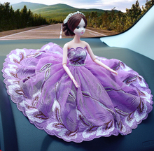 head Arts Crafts Barbie wedding car decoration car decoration creative Shaqun lady lovely doll fashion interior decoration art(China)