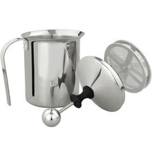 Stainless Steel Milk Frother Double Mesh And Wall Thick Cream Milk Foam Hand Pump Foamer