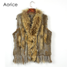 C704 SALE Free shipping womens natural real  rabbit fur vest  with raccoon fur collar waistcoat/jackets  rabbit knitted winter