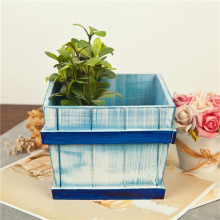Blue Storage Boxes Succulent Plants Tray Wood Storage Holder Wooden Sundries Boxes Wood Crafts Makeup Organizer(China)