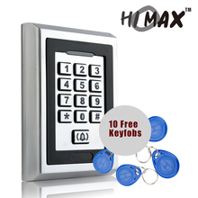Free shipping Keypad & Metal Case with blue backlight 125KHZ/M1 RFID+password waterproof access control system