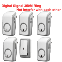 w/ 1 emitter+5 receivers wireless doorbell Waterproof 380 Meter door chime 48 melodies door ring digital signal door bell
