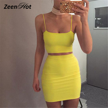 Buy Women 2 Piece Dress 2018 Summer Sleeveless Sexy Spaghetti Strap Club Party Bodycon Dresses Solid Tank Tops Two-Piece Dress for $15.29 in AliExpress store