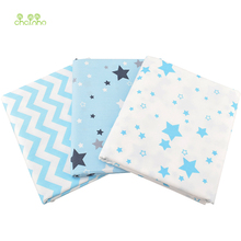 Chainho 3pcs/lot,Twill Cotton Fabric,Sky Blue Star Patchwork Cloth,DIY Sewing Quilting Fat Quarters Material For Baby & Children(China)