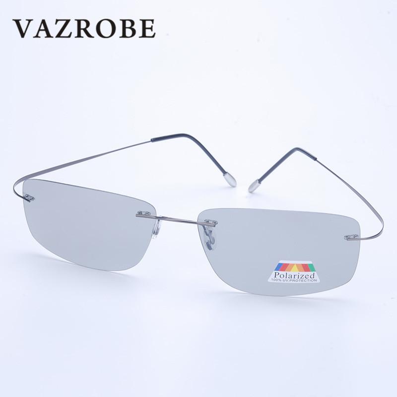 Vazrobe (5s Change Color) Photochromic Sunglasses Men Women Titanium polarized Sun Glasses Chameleon Rimless Anti-glare Driving 6