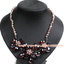 Gorgeous Natural Purple Freshwater Pearl Wine Red Crystal Flower Bib Necklace