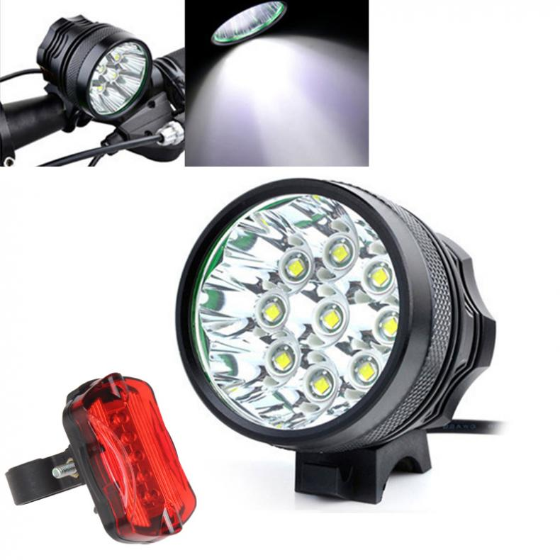 15000Lm 9 x XM-L T6 LED Camping Fishing Bicycle Cycling Flashing Light Lamp Waterproof+8x18650 Battery Pack+Bicycle Rear Light<br><br>Aliexpress