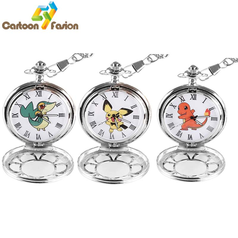 Monster Go Figure Pendant Necklace Pikachu Charmander Snivy Popplio Pocket Watch Figure Christmas Gifts for Kids<br><br>Aliexpress