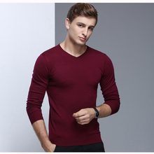 Men's Wool Sweater Pullover Casual Fashion Solid Color Basic Knit Sweater Tops V Neck for Autumn and Winter 9001(China)