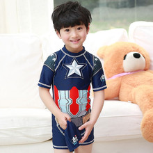 2017 New Arrival Boys One Piece Swimsuit Kids Captain American Surfing Clothes Bathing Beach Suit Hot Summer Swimwear With Cap