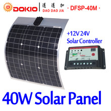 DOKIO Brand 40W 18V Flexible Solar Panel China + 10A 12V/24V Controller 40 Watt Flexible Solar Panels Car/Boat Battery Charger