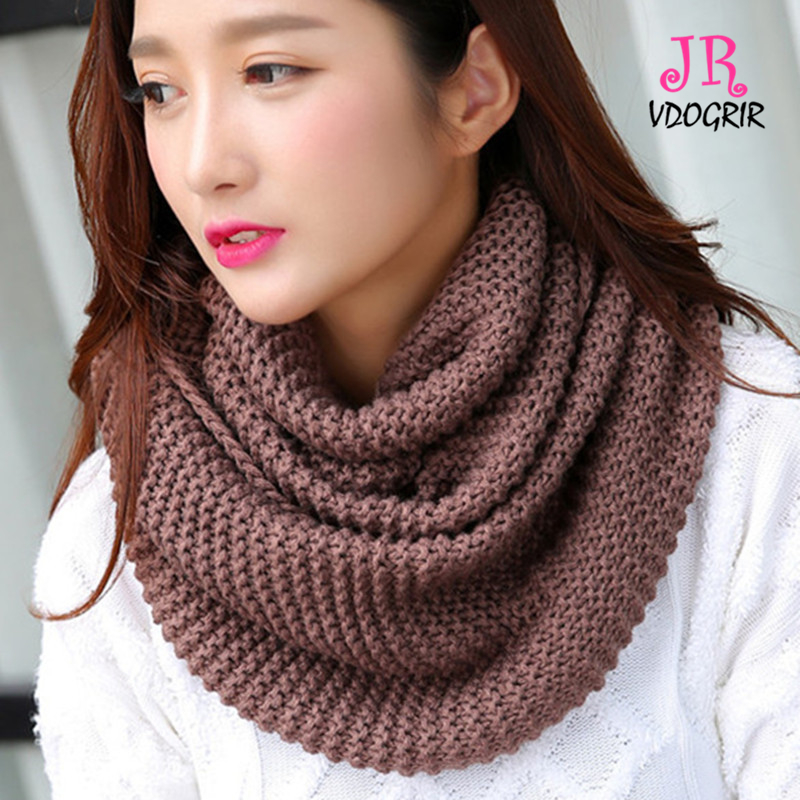 d926fba16679c VDOGRIR Fashion Brand New Women Khaki Solid Ring Warm Scarves Knitted Wool  Neck Cowl Spring Autumn